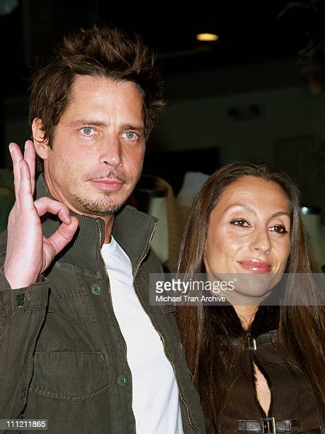 Chris Cornell and wife Vicky Cornell during Grand Opening of An Original Penguin Arrivals at An Original Penguin in Los Angeles California United...