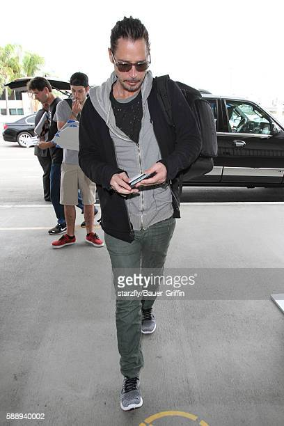 Chris Cornell is seen at LAX on August 12 2016 in Los Angeles California