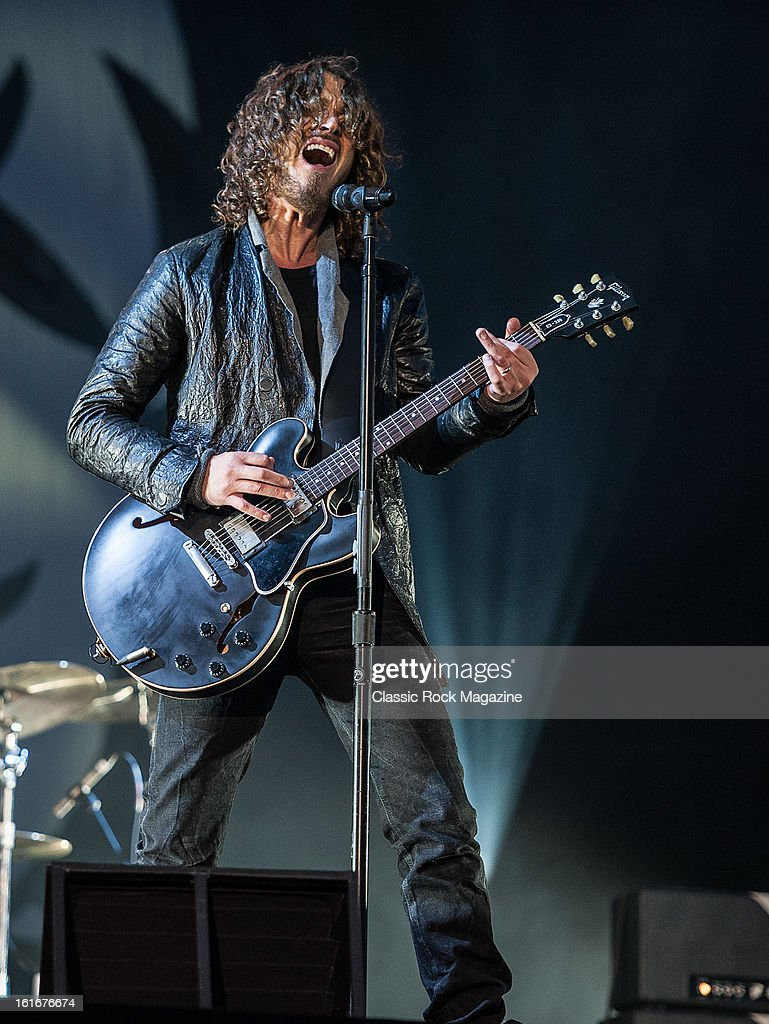 Chris Cornell of American grunge rock band Soundgarden performing live onstage at Hard Rock Calling Festival, July 13, 2012.