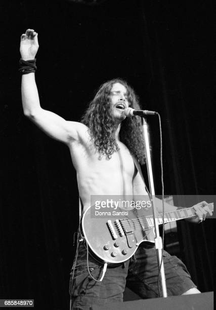 Chris Cornell of Soundgarden performing on stage at A Gathering of the Tribes festival at the Pacific Amphitheatre in Costa Mesa California on...