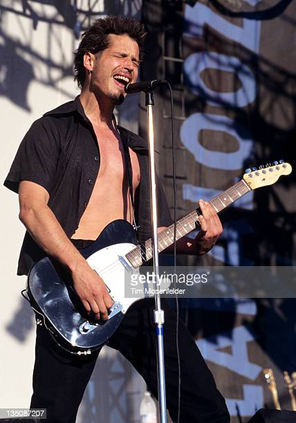 Chris Cornell of Soundgarden performs as part of Lollapalooza 1996 at Winnebago County Fairgrounds on June 30 1996 in Rockford IL