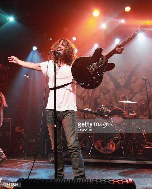 Chris Cornell of Soundgarden performs at an intimate show in celebration of their new album 'King Animal' at Irving Plaza on November 13 2012 in New...