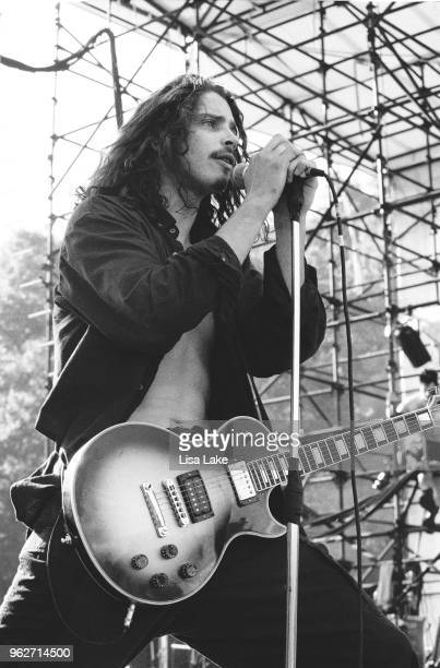 Chris Cornell of Soundgarden performs during Lollapalooza 1992 at Waterloo Village in Stanhope New Jersey on August 11 1992 in Stanhope New Jersey