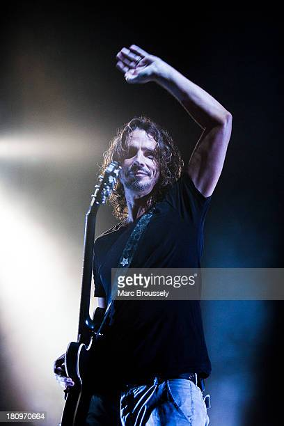 Chris Cornell of Soundgarden performs on stage at Brixton Academy on September 18 2013 in London England