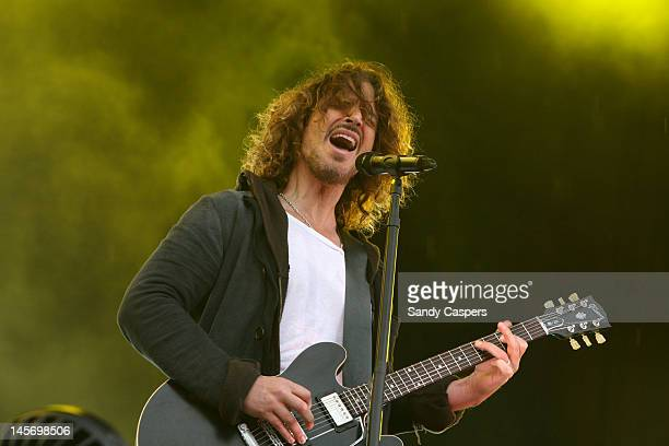 Chris Cornell of Soundgarden performs on stage during Rock Im Park at Zeppelinfeld on June 3 2012 in Nuremberg Germany