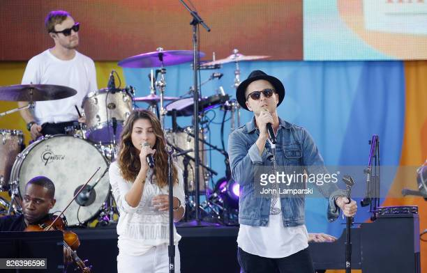 Chris Cornell's doughter Toni Cornell joins Eddie Fisher and Ryan Tedder of OneRepublic during a performance on ABC's 'Good Morning America' at...
