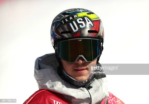 Chris Corning of the United States reacts after his jump during the Men's Big Air Qualification on day 12 of the PyeongChang 2018 Winter Olympic...