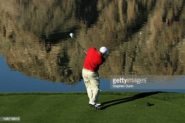 Chris Couch hits his tee shot on the tenth hole during round three of the Bob Hope Classic at the Palmer Private Course at PGA West on January 21,...