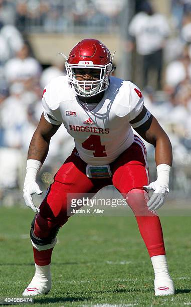Chris Covington of the Indiana Hoosiers in action during the game against the Penn State Nittany Lions on October 10, 2015 at Beaver Stadium in State...