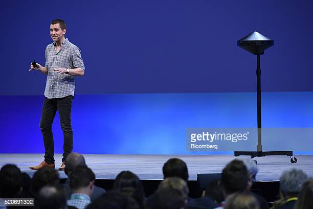 Chris Cox chief product officer of Facebook Inc unveils the Surround 360 camera during the Facebook F8 Developers Conference in San Francisco...