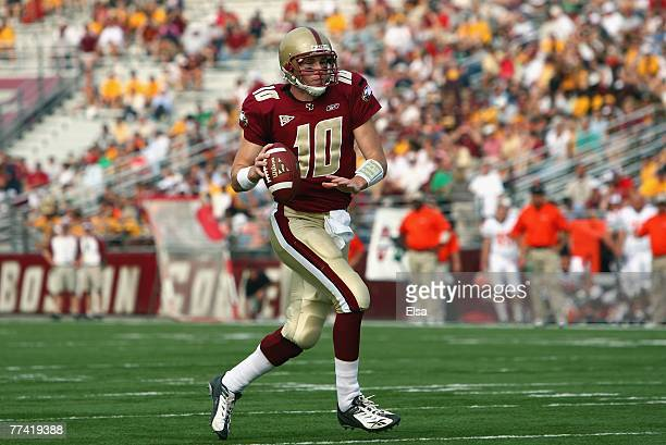 Chris Crane of the Boston College Eagles carries the ball in the fourth quarter against the Bowling Green Falcons on October 6 2007 at Alumni Stadium...