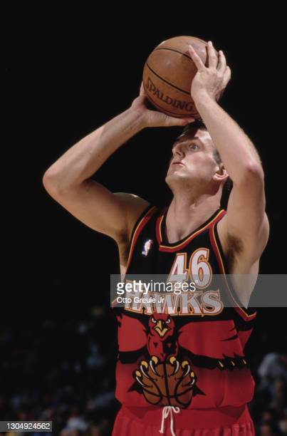 Chris Crawford, Power Forward for the Atlanta Hawks prepares to shoot a free throw during the NBA Pre Season basketball game against the Los Angeles...