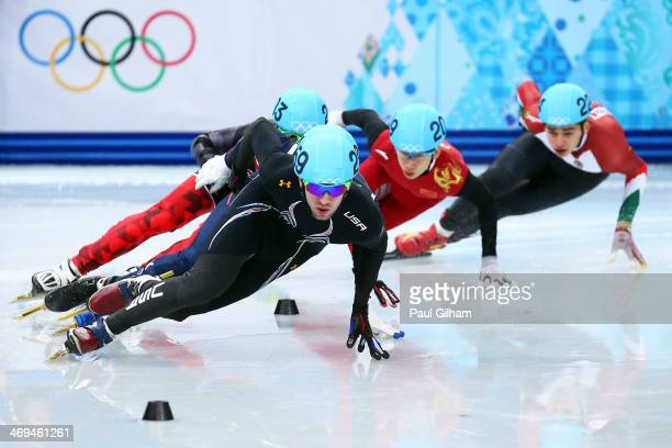 Chris Creveling of the United States leads the pack during the Men's 1000m Quarterfinal Short Track Speed Skating on day 8 of the Sochi 2014 Winter...