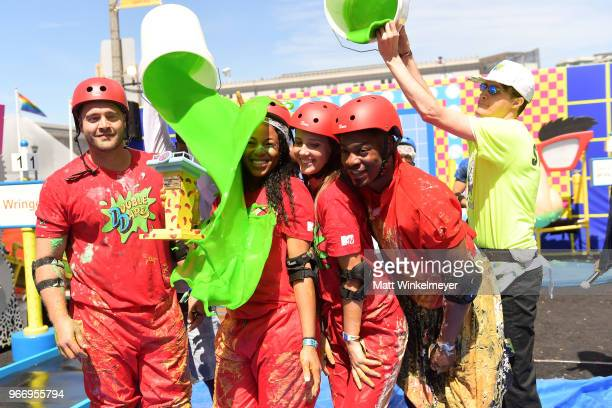Chris 'CT' Tamburello Kam Williams Jenna Compono and Leroy Garrett attend Double Dare presented by Mtn Dew Kickstart at Comedy Central presents...