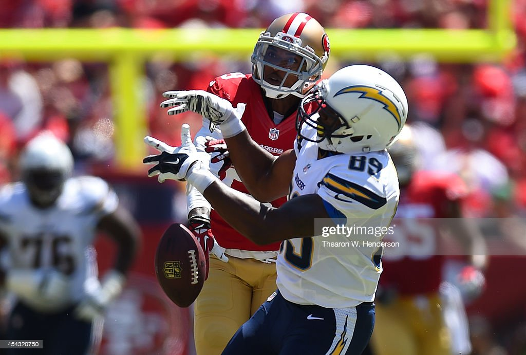 Chris Culliver #29 of the San Francisco 49ers breaks up this pass to Ladarius Green #89 of the San Diego Chargers on August 24, 2014 in Santa Clara, California.