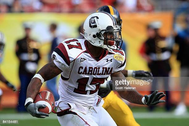 Chris Culliver of the South Carolina Gamecocks runs upfield against the Iowa Hawkeyes during the Outback Bowl on January 1, 2009 at Raymond James...