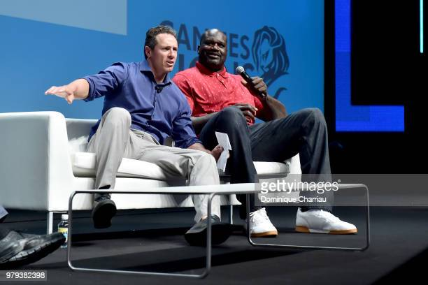 Chris Cuomo and Shaquille O'Neal speak onstage during the Turner session at the Cannes Lions Festival 2018 on June 20 2018 in Cannes France