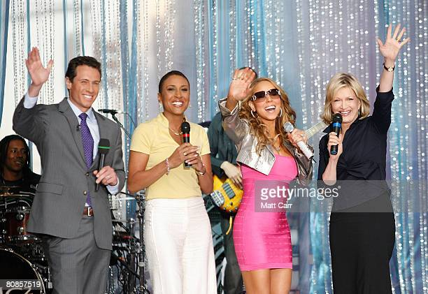 Chris Cuomo Robin Roberts Mariah Carey Diane Sawyer on ABC's Good Morning America in Times Square on April 25th in New York