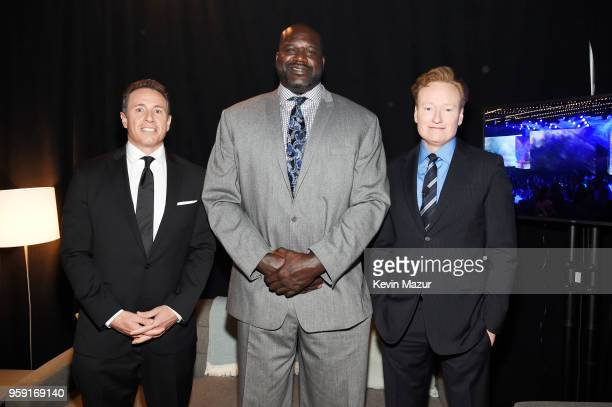Chris Cuomo Shaquille O'Neal and Conan O'Brien attend the Turner Upfront 2018 arrivals on the red carpet at The Theater at Madison Square Garden on...