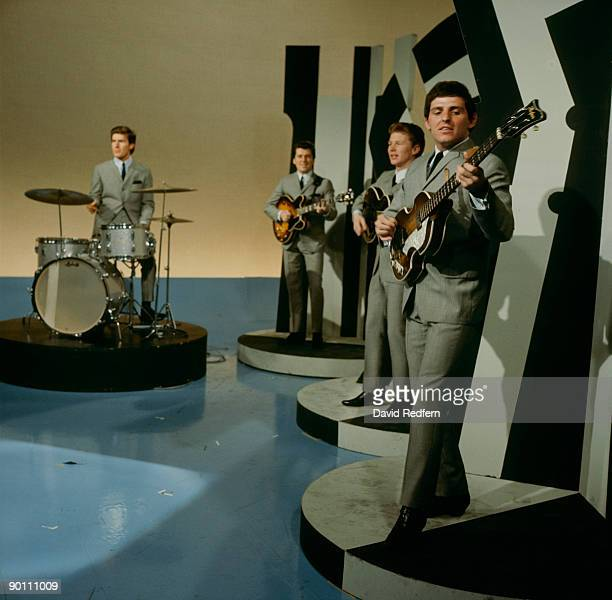Chris Curtis Mike Pender John McNally and Tony Jackson of The Searchers perform on Thank Your Lucky Stars tv show in 1964