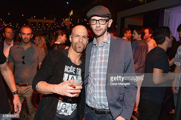 Chris Daughtry and actor DJ Qualls attend Entertainment Weekly's ComicCon Bash held at Float Hard Rock Hotel San Diego on July 23 2016 in San Diego...
