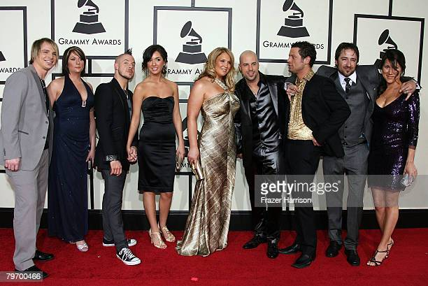 Chris Daughtry and wife Deanna Daughtry pose with Daughtry band members and their guests at the 50th annual Grammy awards held at the Staples Center...