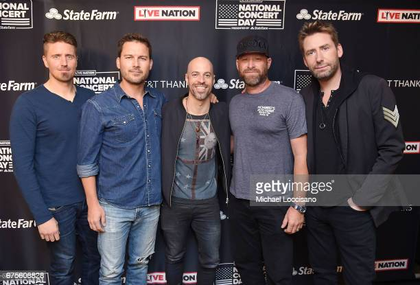 Chris Daughtry of Daughtry and Daniel Adair Ryan Peake Mike Kroeger and Chad Kroeger of Nickelback attend Live Nation's celebration of The 3rd Annual...