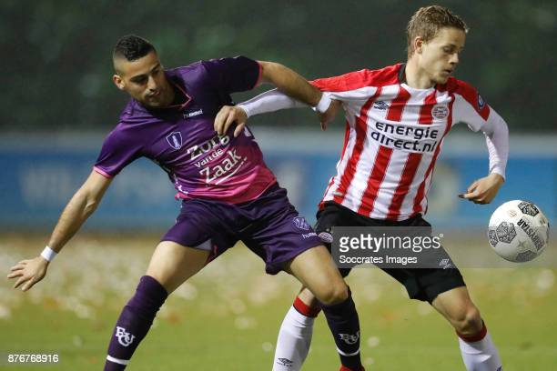 Chris David of FC Utrecht U23 Dante Rigo of PSV U23 during the Dutch Jupiler League match between PSV U23 v Utrecht U23 at the De Herdgang on...