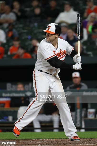 Chris Davis of the Baltimore Orioles bats against the Cleveland Indians at Oriole Park at Camden Yards on April 23 2018 in Baltimore Maryland