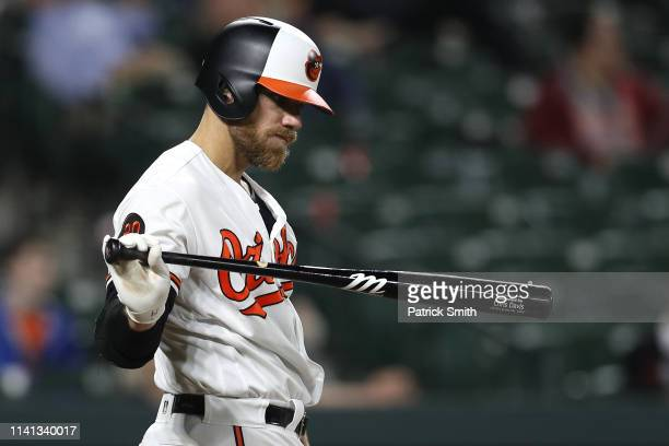 Chris Davis of the Baltimore Orioles bats against the Oakland Athletics during the seventh inning at Oriole Park at Camden Yards on April 8 2019 in...