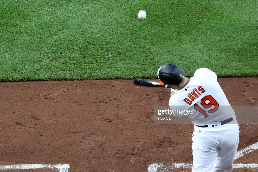 Chris Davis #19 of the Baltimore Orioles flies out for the second out of the second inning against the Kansas City Royals at Oriole Park at Camden Yards on May 9, 2018 in Baltimore, Maryland.
