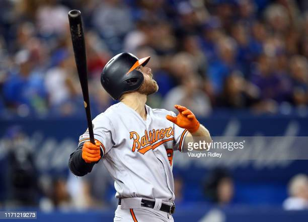 Chris Davis of the Baltimore Orioles flies out to centre field with the bases loaded in the eighth inning during a MLB game against the Toronto Blue...