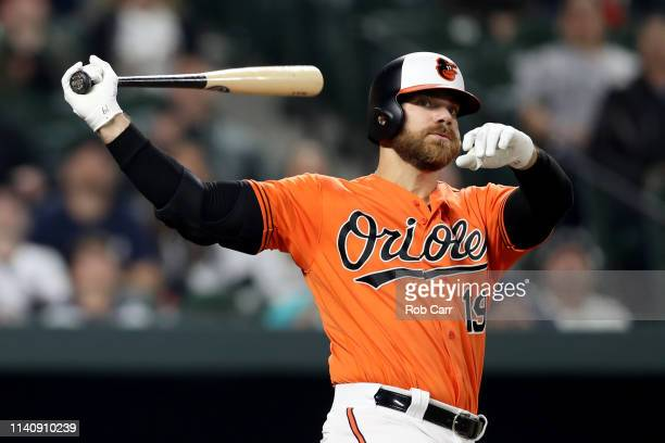 Chris Davis of the Baltimore Orioles fouls off a pitch against the New York Yankees at Oriole Park at Camden Yards on April 06 2019 in Baltimore...