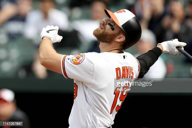 Chris Davis of the Baltimore Orioles fouls off a pitch in the ninth inning against the New York Yankees at Oriole Park at Camden Yards on April 07...