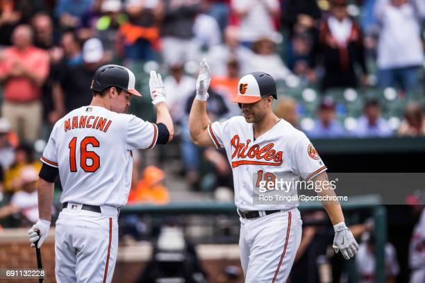 Chris Davis of the Baltimore Orioles gets greeted by Trey Mancini after hitting a home run during the game against the Minnesota Twins at Oriole Park...