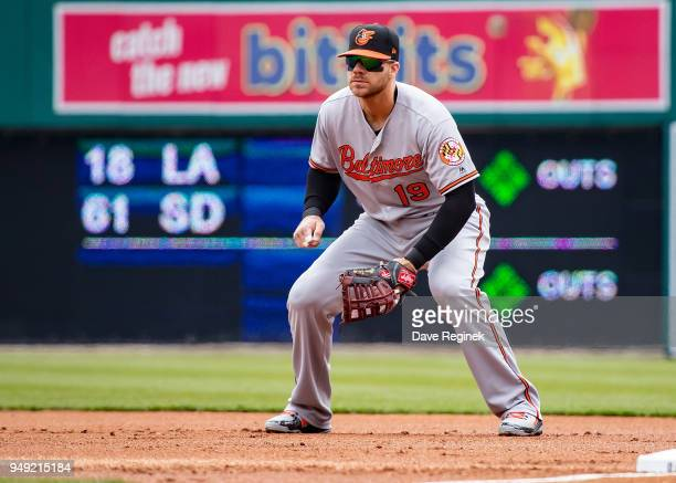 Chris Davis of the Baltimore Orioles gets set for the pitch at first base against the Detroit Tigers during a MLB game at Comerica Park on April 18...