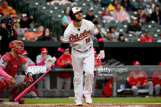 Chris Davis of the Baltimore Orioles hits a home run during the second inning against the Los Angeles Angels at Oriole Park at Camden Yards on May 12...
