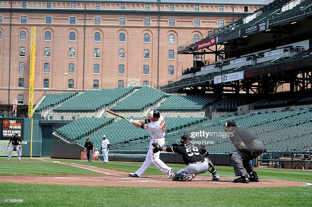 Chris Davis #19 of the Baltimore Orioles hits a three-run home run in the first inning against the Chicago White Sox at Oriole Park at Camden Yards on April 29, 2015 in Baltimore, Maryland. The game was played without spectators due to the social unrest in Baltimore.