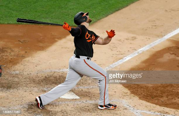 Chris Davis of the Baltimore Orioles in action against the New York Yankees at Yankee Stadium on September 11, 2020 in New York City. The Yankees...
