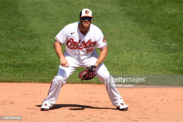 Chris Davis of the Baltimore Orioles in position during a baseball game against the Toronto Blue Jays at Oriole Park at Camden Yards on August 19,...