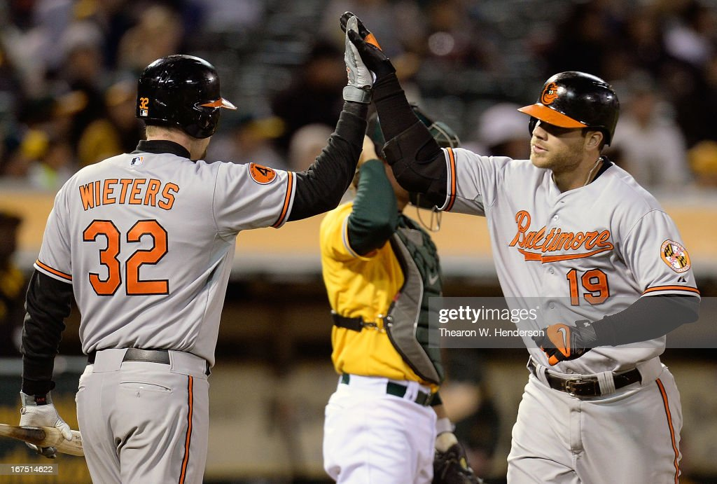 Chris Davis #19 of the Baltimore Orioles is congratulated by Matt Wieters #32 after Davis hit a solo home run against the Oakland Athletics in the fifth inning at O.co Coliseum on April 25, 2013 in Oakland, California.