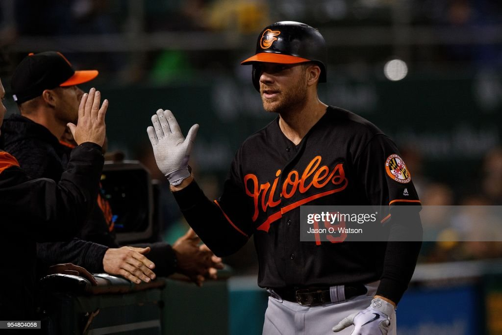Chris Davis #19 of the Baltimore Orioles is congratulated by teammates after scoring a run against the Oakland Athletics during the sixth inning at the Oakland Coliseum on May 4, 2018 in Oakland, California. The Oakland Athletics defeated the Baltimore Orioles 6-4.