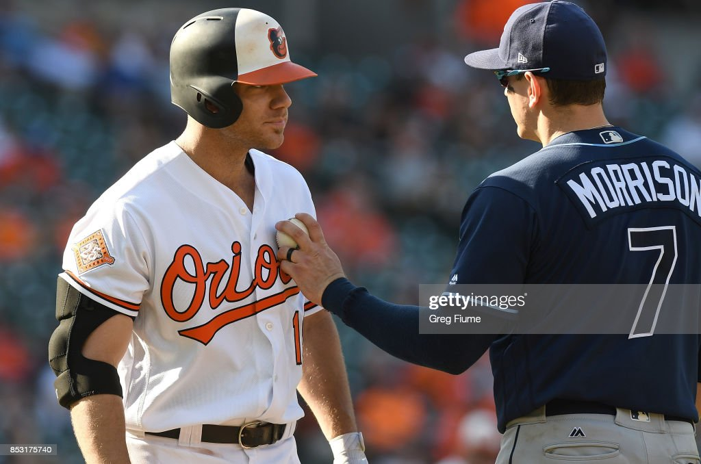 Chris Davis #19 of the Baltimore Orioles is tagged out by Logan Morrison #7 of the Tampa Bay Rays in the seventh inning at Oriole Park at Camden Yards on September 24, 2017 in Baltimore, Maryland.