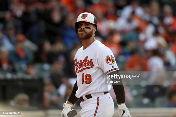 Chris Davis of the Baltimore Orioles looks on after striking out against the New York Yankees at Oriole Park at Camden Yards on April 04 2019 in...
