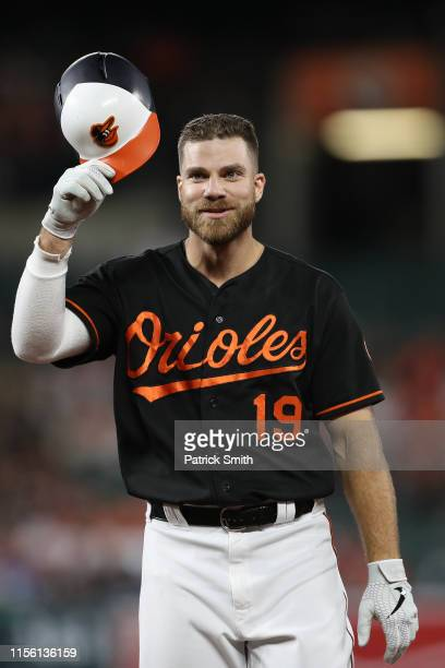 Chris Davis of the Baltimore Orioles looks on against the Boston Red Sox at Oriole Park at Camden Yards on June 14, 2019 in Baltimore, Maryland.
