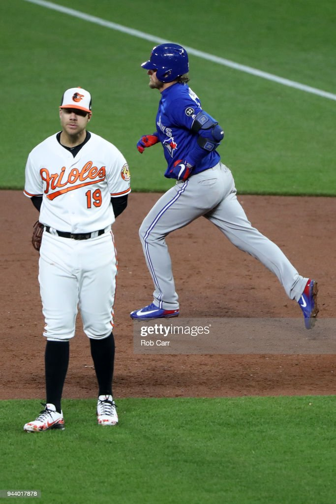 Chris Davis #19 of the Baltimore Orioles looks on as Josh Donaldson #20 of the Toronto Blue Jays rounds the bases after hitting an ninth inning grand slam at Oriole Park at Camden Yards on April 9, 2018 in Baltimore, Maryland.