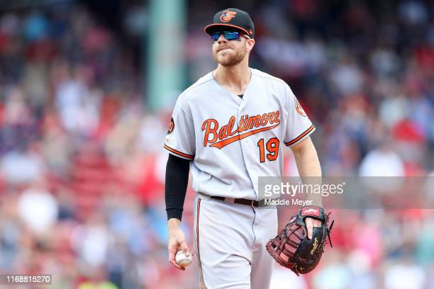 Chris Davis of the Baltimore Orioles looks on during the seventh inning against the Boston Red Sox at Fenway Park on August 18, 2019 in Boston,...
