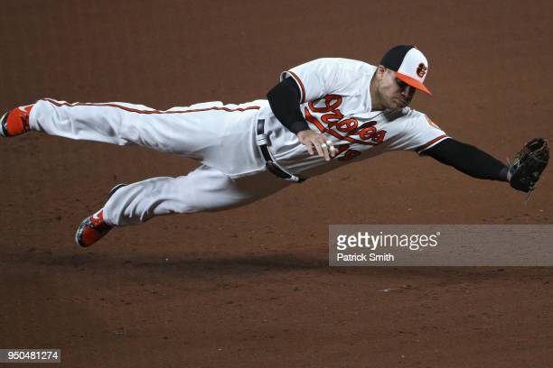 Chris Davis of the Baltimore Orioles makes a play on a hit by Michael Brantley of the Cleveland Indians during the sixth inning at Oriole Park at...