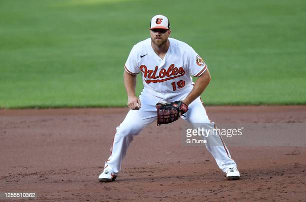 Chris Davis of the Baltimore Orioles plays first base during an Intrasquad game at Oriole Park at Camden Yards on July 9, 2020 in Baltimore, Maryland.