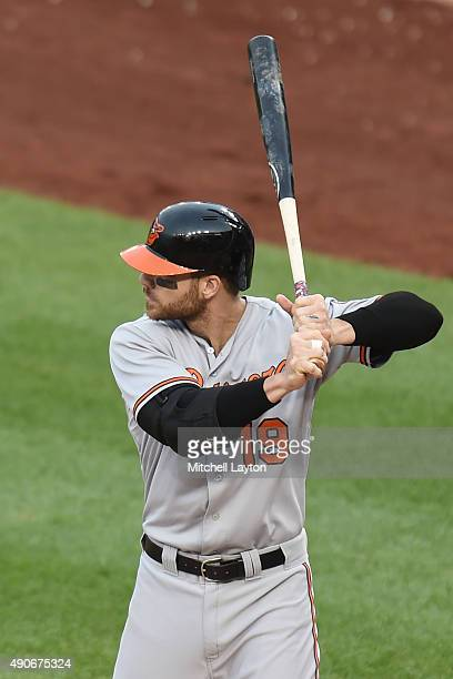 Chris Davis of the Baltimore Orioles prepares for a pitch during a baseball game against the Baltimore Orioles at Nationals Park on September 24 2015...